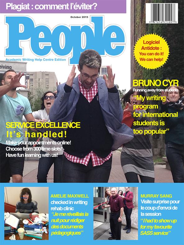 Parodie humoristique de la page couverture du magazine People réalisée par le Centre d'aide à la rédaction des travaux universitaires (CARTU)
